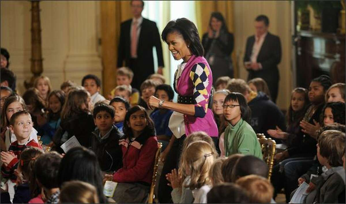 First Lady Michelle Obama welcomes children of Executive Office employees at the White House's annual Take Your Child to Work Day event at the White House in Washington, DC.