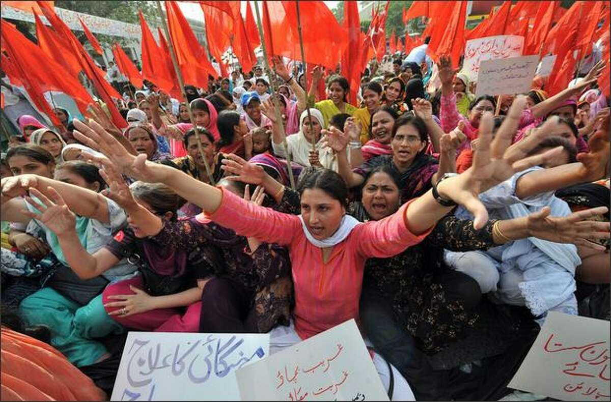 Activists of the Pakistan Labour Party shout slogans during a protest rally in Lahore to denounce soaring price hikes in the country. Prime Minister Yousaf Raza Gilani has announced that the forthcoming fiscal budget will be businessmen and people friendly which is scheduled to be unveiled on June 11. In the first few months of 2008 the country has seen growing anger over a shortage of wheat and other foodstuffs, while power cuts have increased in frequency across the nation.