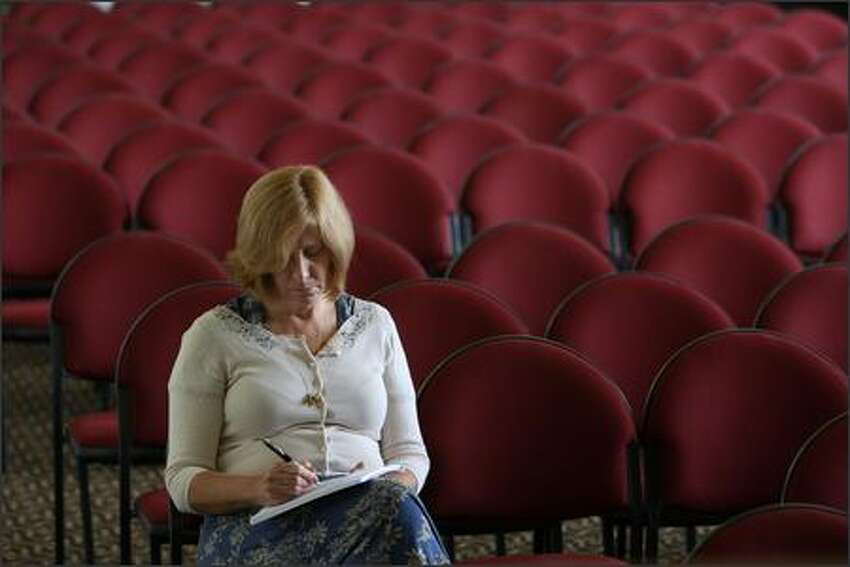 Anti-war activist Cindy Sheehan works on a speech prior to making a formal announcement that she is running for U.S. Congress August 9, 2007 in San Francisco, California. Sheehan, an anti-war activist and mother of killed soldier Casey Sheehan, announced that she is running against House Speaker Nancy Pelosi for her seat in Californias 8th district. Photo by Justin Sullivan/Getty Images