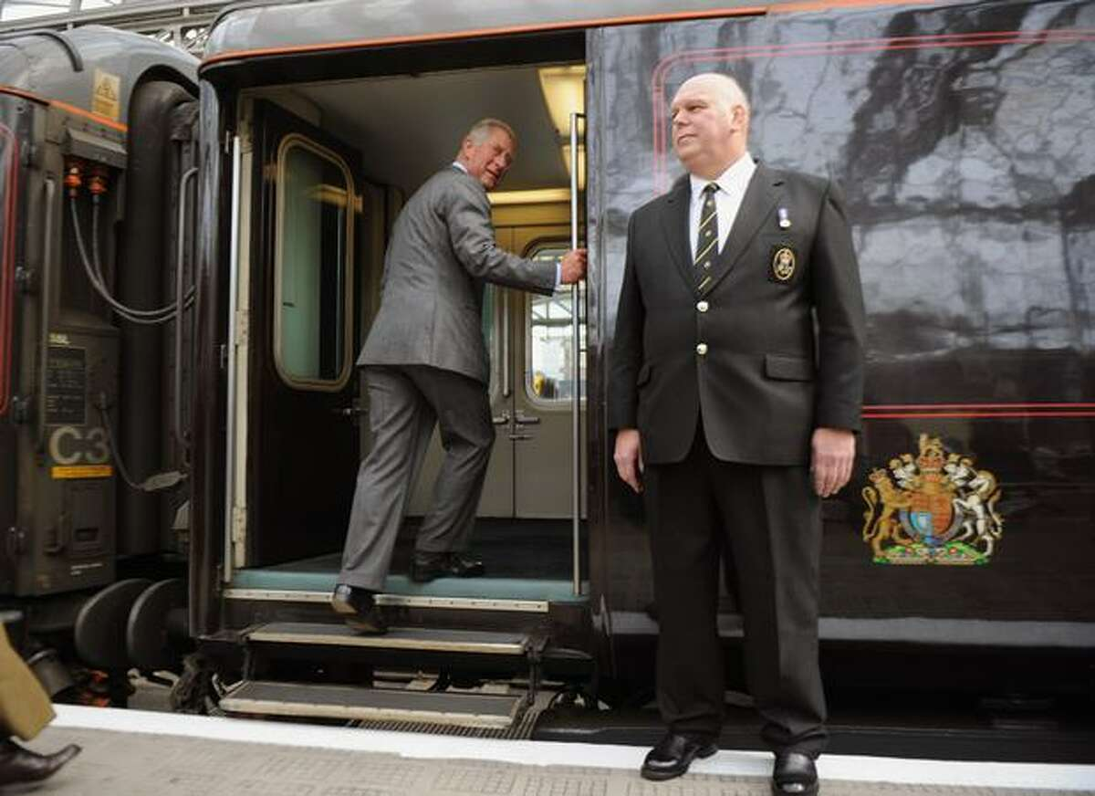 Prince Charles, Prince of Wales, boards the royal train at Glasgow Central Station on Sept. 6, 2010, in Glasgow, Scotland. Prince Charles embarked on his five-day tour of the UK to promote sustainable living. The Royal Train is powered by biofuel.