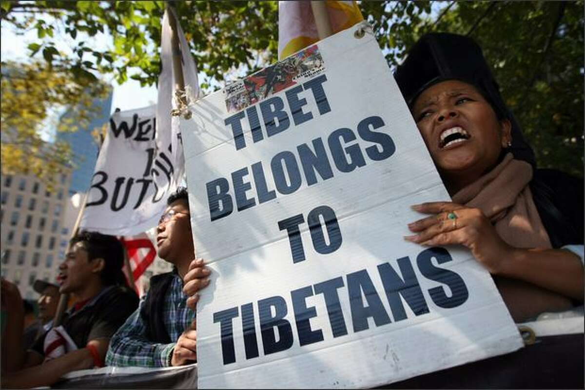 Pro-Tibet activists protest the visit of Chinese Premier Wen Jiabao to the 63rd annual United Nations General Assembly meeting outside UN headquarters in New York City. Leaders from around the world have descended on New York to discuss current political issues.