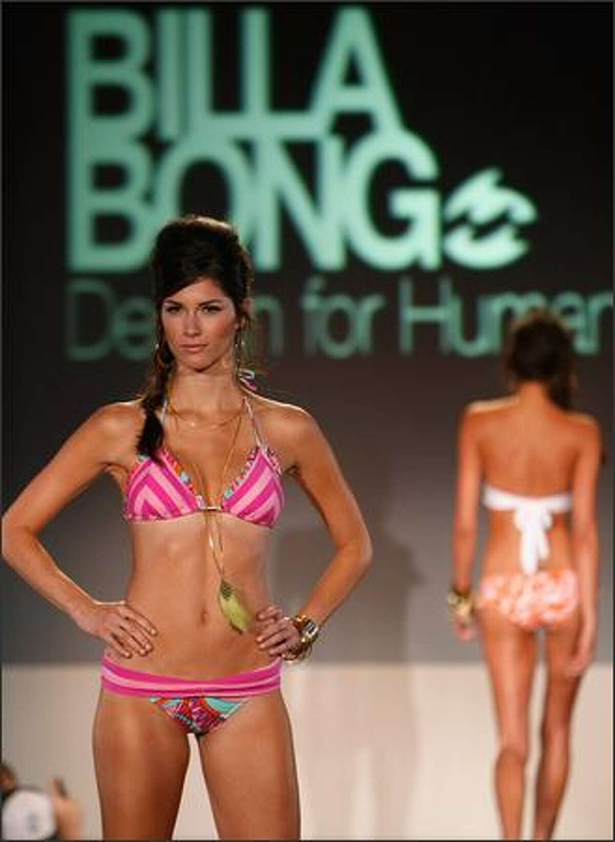A model walks the runway of Billabong's Second Annual Design for Humanity benefitting The Surfrider Foundation at Avalon on Wednesday in Hollywood, Calif.