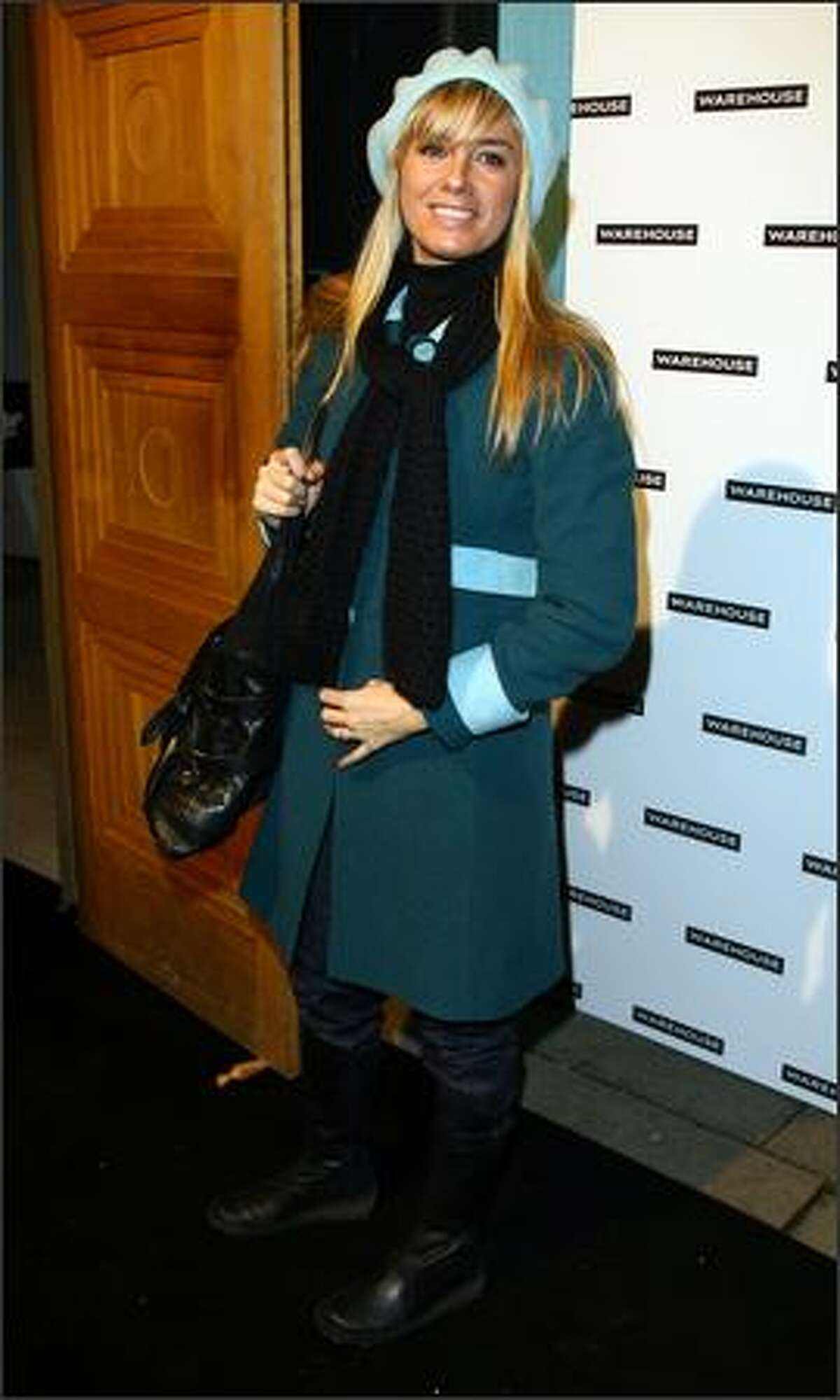 Tamzin Outhwaite arrives at the Warehouse Preview Spring-Summer 08 Collection on Tuesday in London, England.