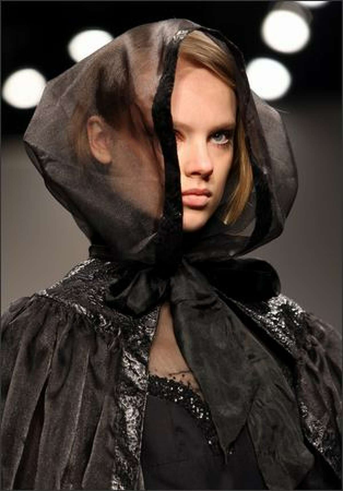 A model walks down the runway during the Bora Asku fall 2008 show at The BFC Tent in London.