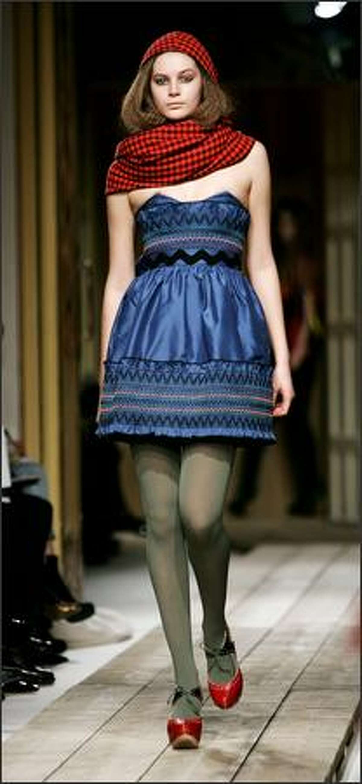 A model walks down the runway during the Luella fall 2008 show at Claridges Hotel in London.