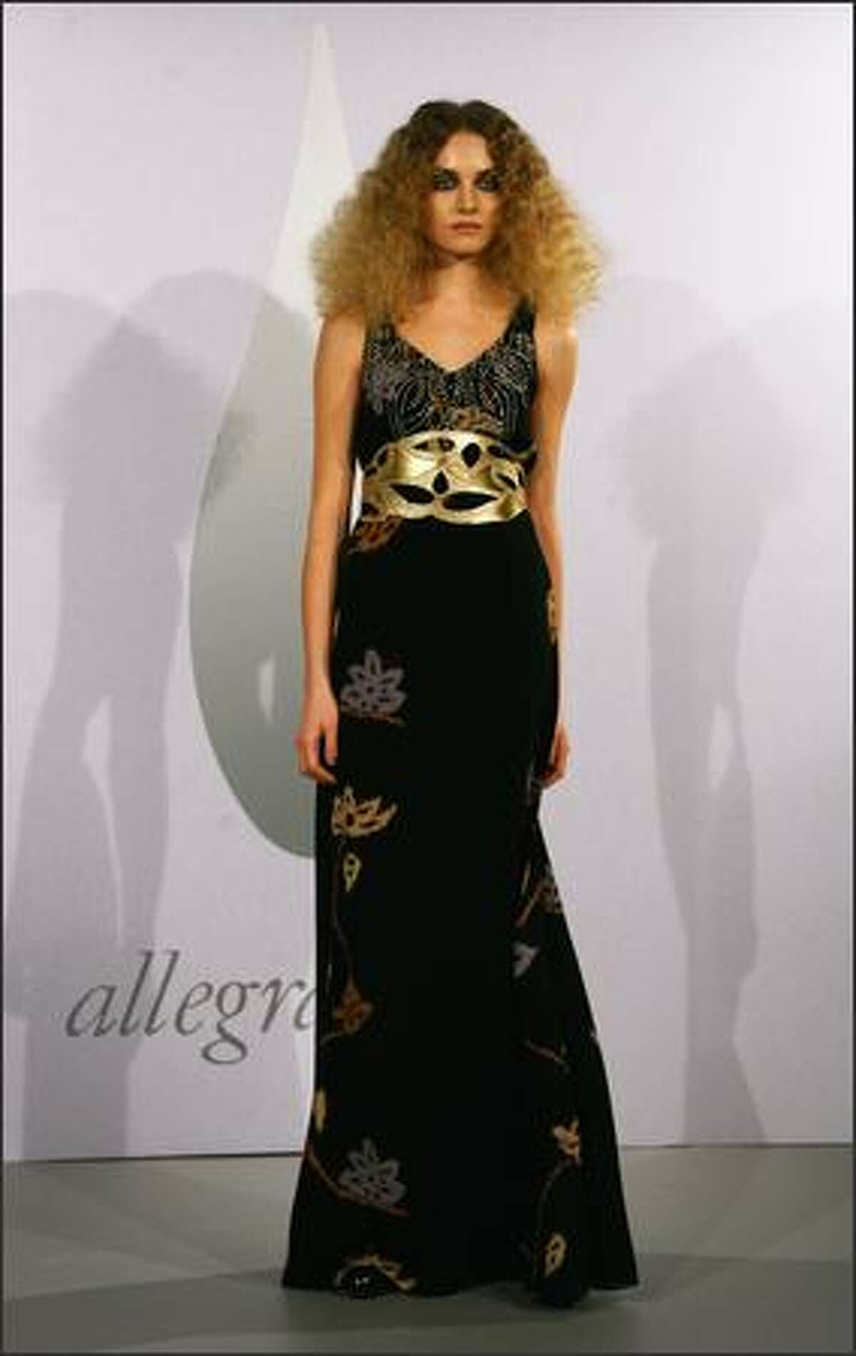 A model displays a creation by Allegra Hicks.