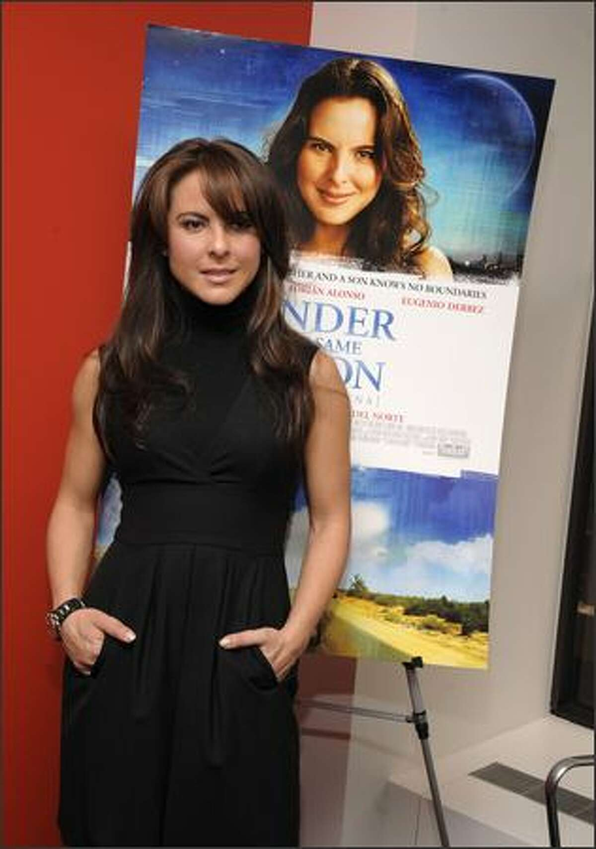 Actress Kate Del Castillo poses for pictures at a news conference to promote her new movie