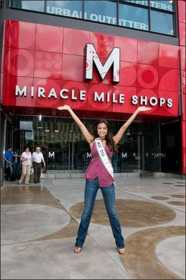 Rachel Smith, Miss USA 2007, poses for a photo outside the Miracle Mile Shops next to the Planet Hollywood Resort and Casino in Las Vegas. Photo: Miss Universe L.P., LLLP / Miss Universe L.P., LLLP