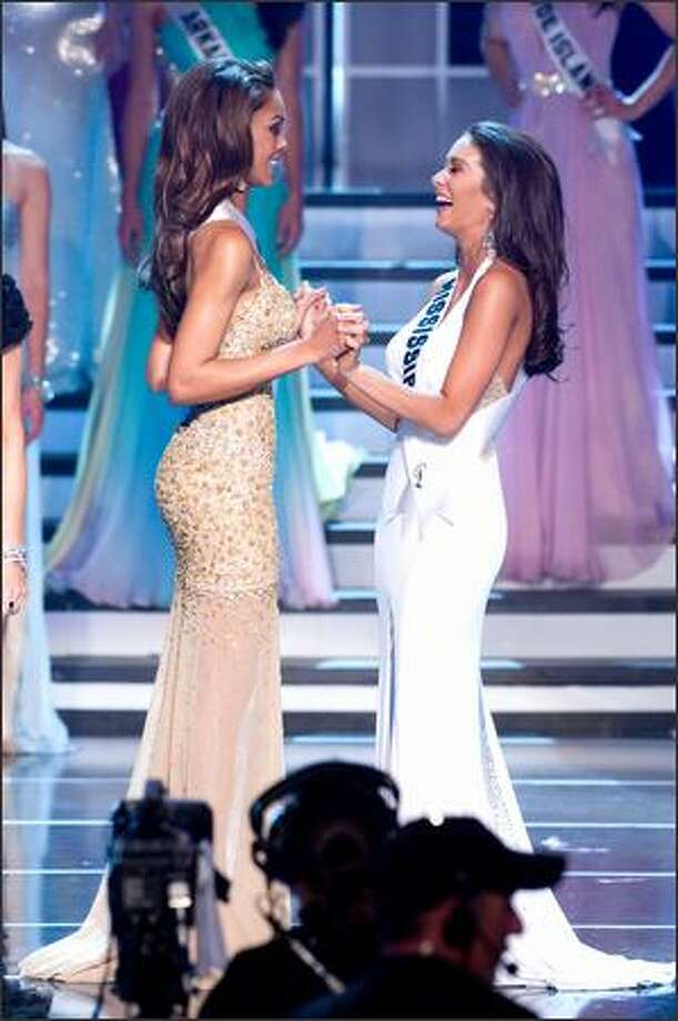 Crystle Stewart, Miss Texas USA 2008, and Leah Laviano, Miss Mississippi USA 2008 wait for the judges' decision as the last two contestants standing in the 2008 Miss USA pageant at the Planet Hollywood Resort and Casino Theatre in Las Vegas on Friday night. Photo: Miss Universe L.P., LLLP / Miss Universe L.P., LLLP