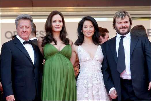 "Actors Dustin Hoffman, Angelina Jolie, Lucy Liu and Jack Black arrive at the ""Kung Fu Panda"" premiere at Cannes. Photo: Getty Images / Getty Images"
