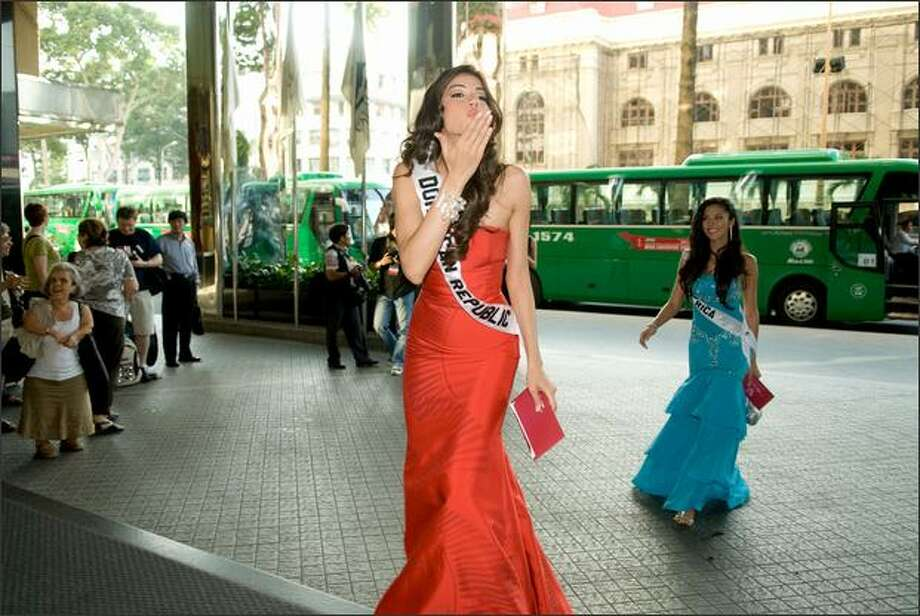 Marianne Cruz, Miss Dominican Republic 2008, arrives for the welcome dinner at the Caravelle Hotel in Ho Chi Minh City on Friday. She will compete in the 57th annual Miss Universe competition which will take place in Nha Trang, Vietnam at the Crown Convention Center on July 14 (July 13 Pacific time). Photo: Miss Universe L.P., LLLP / Miss Universe L.P., LLLP