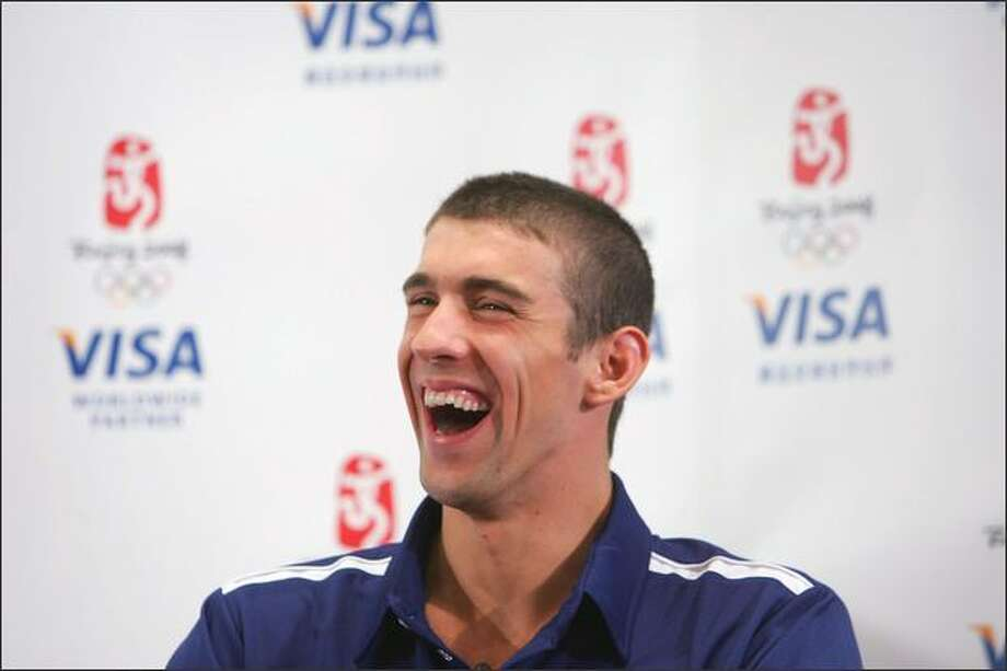 U.S. swimmer Michael Phelps gives a press conference during a promotional event as part of the 2008 Beijing Olympic Games on Monday in Beijing, China. Michael Phelps becomes the first athlete ever in Olympics' history to win eight gold medals in a single Olympiad Photo: Getty Images / Getty Images
