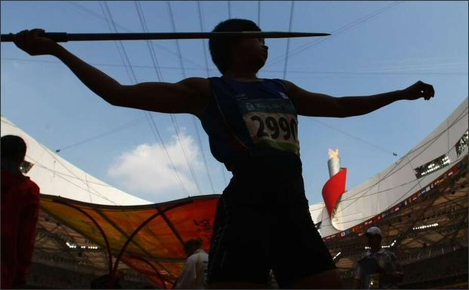 Buoban Pamang of Thailand competes in the Women's Javelin Qualifying Round held at the National Stadium on Day 11 of the Beijing 2008 Olympic Games on Tuesday. Photo: Getty Images / Getty Images