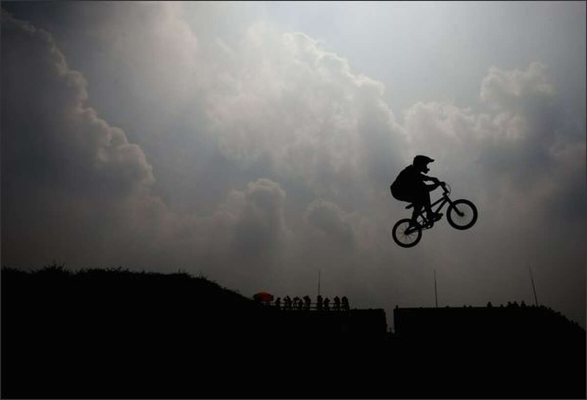A general view of the action in the Men's BMX Seeding Phase at the Laoshan Bicycle Moto Cross (BMX) Venue during Day 12 of the Beijing 2008 Olympic Games on Wednesday.