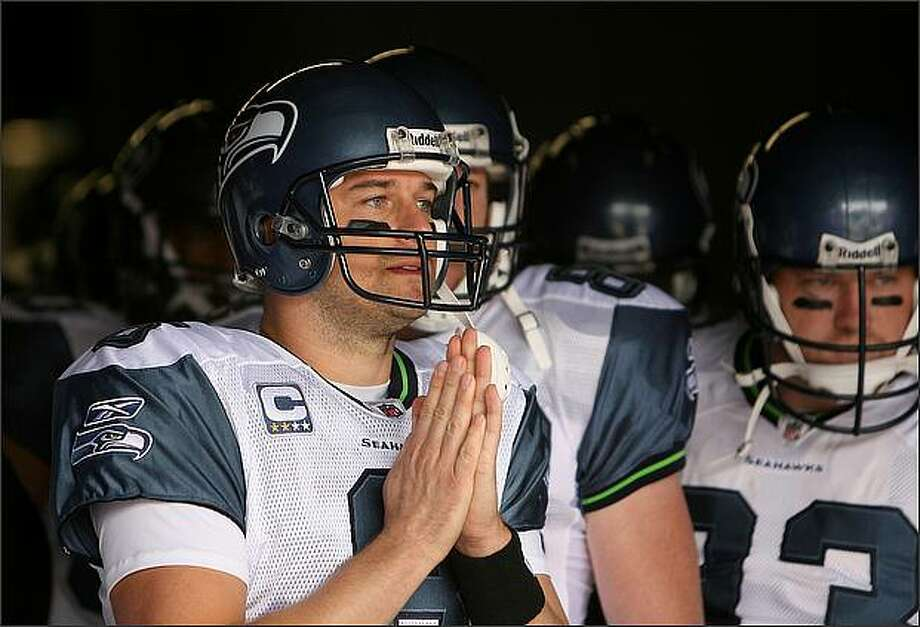 Matt Hasselbeck waits in the tunnel before the start on the game. His prayers did not help the Seahawks, as they lost to the New York Giants 44-6 at Giants Stadium. Photo: Scott Eklund, Seattle Post-Intelligencer / Seattle Post-Intelligencer