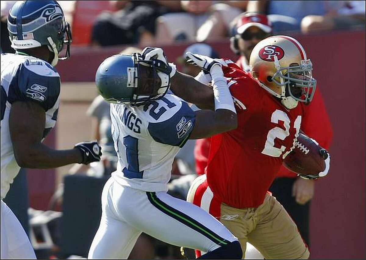 San Francisco 49ers Frank Gore gets a first down in the first half but is called back for face mask penalty. (Lacy Atkins/San Francisco Chronicle)