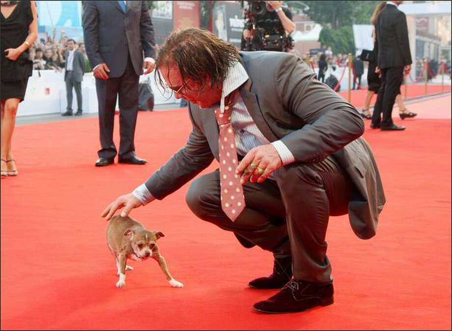 Actor Mickey Rourke and dog Loki attend the 65th Venice Film Festival Closing Ceremony at the Sala Grande in Venice, Italy on Saturday. Photo: Getty Images / Getty Images