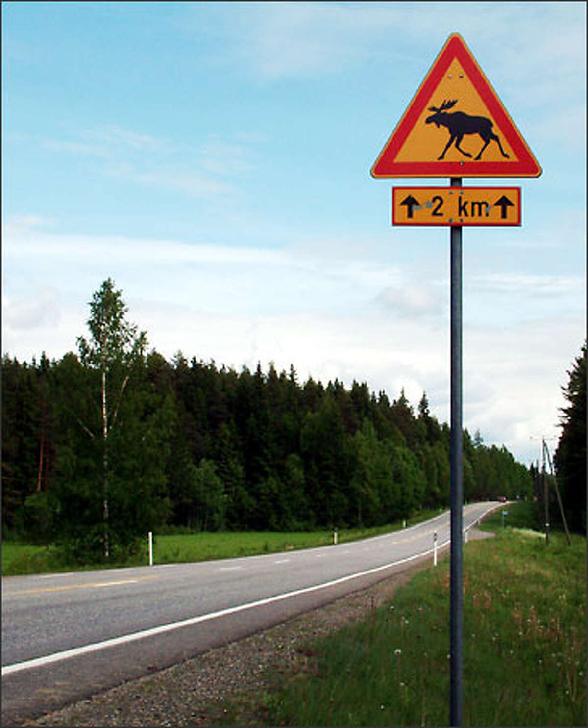 This sign (and the many like it posted with great frequency throughout Finland's highway system) seemed to promise we'd get at least one glimpse of a moose. Sadly, we didn't see hide nor horn of a single one.