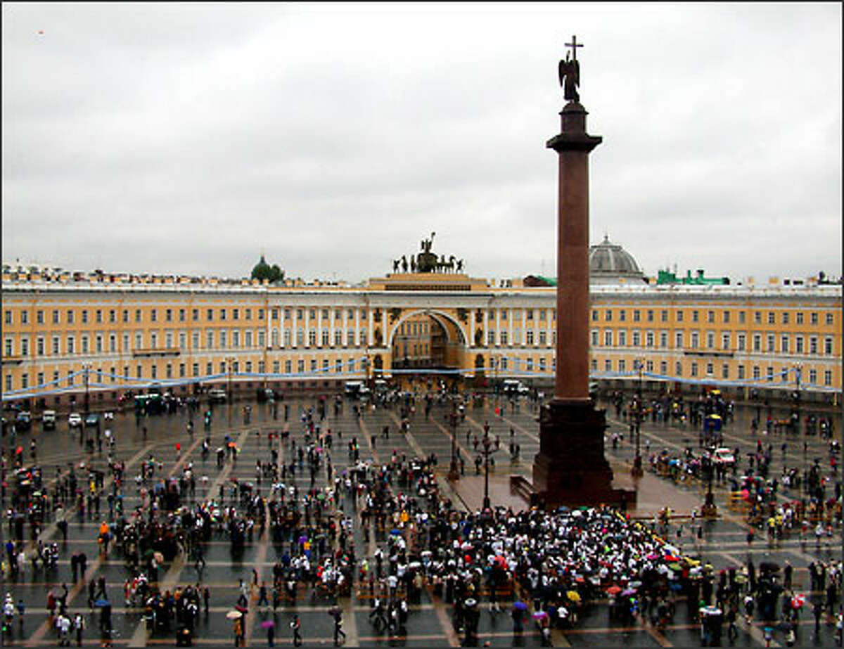 From an upper floor of the Hermitage we had a good view of the Palace Square and Alexander Column below. The square was filled people celebrating the longest day of the year.