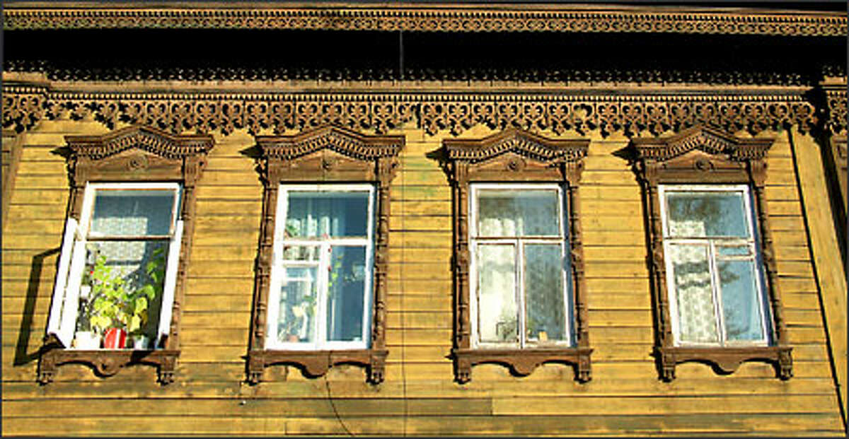 Irkutsk is full of the traditional Siberian homes made of wood and adorned with ornate carvings.