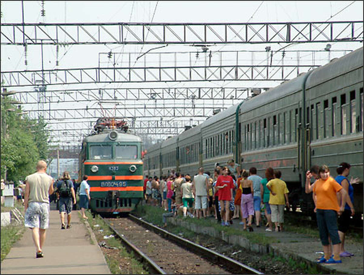 Trans-Siberian trains stop just long enough to give passengers a chance to step off, stretch their legs and stock up on food, drink and other supplies for the onward journey.