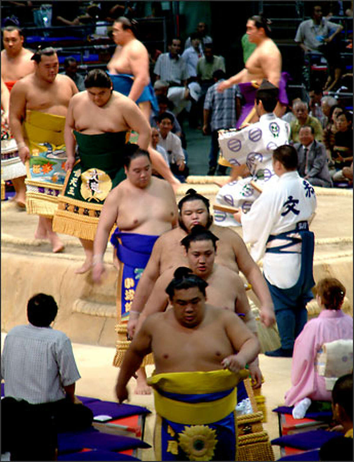 Sumo wrestlers are not divided into weight categories, therefore a skinny wrestler (yes, there are a few skinny ones) may end up competing against someone much heavier. Wrestlers, instead, are divided into groups based on their skill level. Pictured here, high-ranking wrestlers leave the ring shortly before they begin facing off against each other.