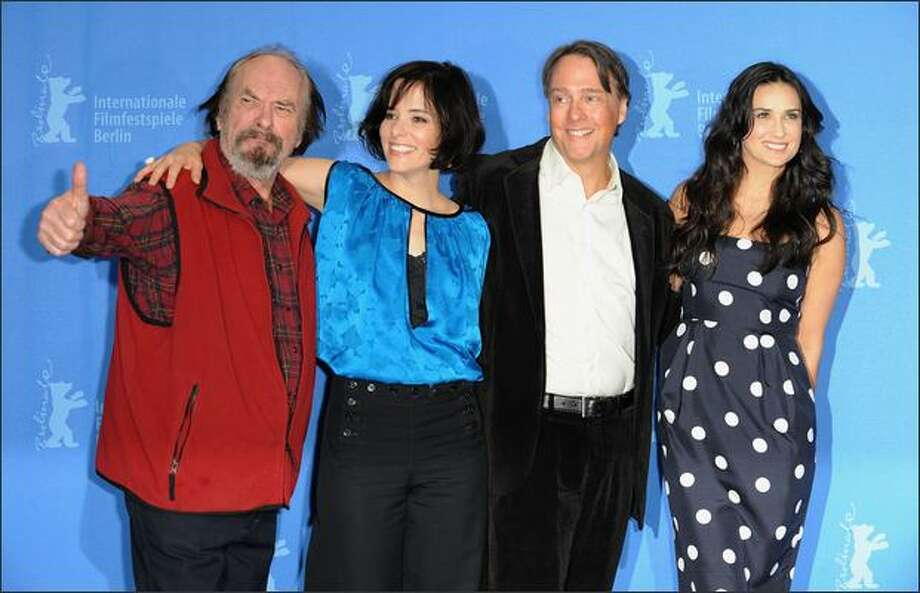 "Rip Torn, Parker Posey director Mitchell Lichtenstein and Demi Moore attend the photocall for ""Happy Tears"" as part of the 59th Berlin Film Festival at the Grand Hyatt Hotel on Wednesday in Berlin. Photo: Getty Images / Getty Images"