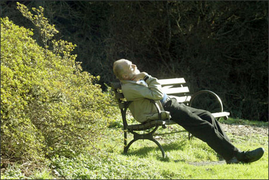 Vern Ainardi of Seattle soaks in the sun while in the Washington Park Arboretum. The temperature reached a comfortable 59 degrees in the Emerald City. Photo: Dan DeLong, Seattle Post-Intelligencer / Seattle Post-Intelligencer