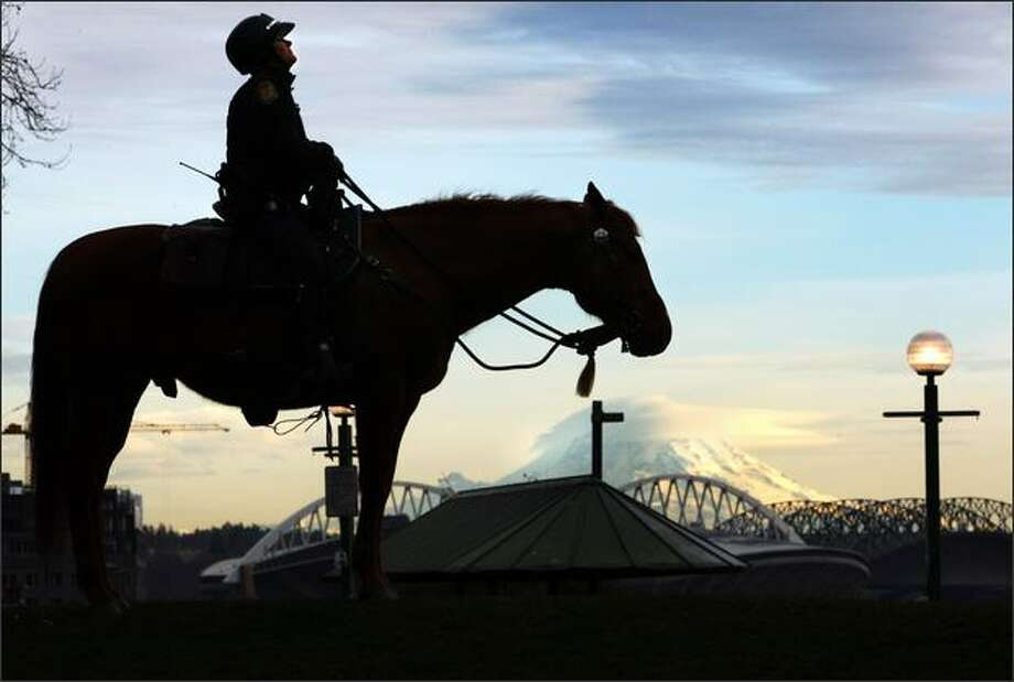 Seattle Police officer Lydee Steinberg, atop 14-year-old quarterhorse Tiger, keeps watch over Victor Steinbrueck Park next to Pike Place Market in Seattle with Mt. Rainier in background. Photo: Joshua Trujillo, Seattlepi.com / seattlepi.com