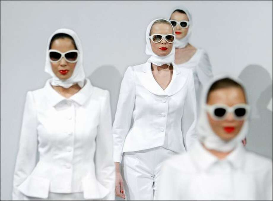 Models display creations by Dutch designer Frans Molenaar on Sunday in Amsterdam. Photo: Getty Images / Getty Images