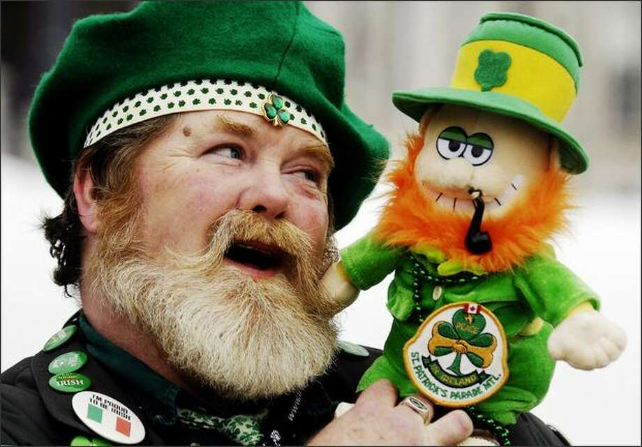 Simon Rielly enjoys the festivities at the 184th consecutive St. Patrick's Day Parade in Montreal, Canada on Sunday. (AP Photo/The Canadian Press, Graham Hughes) Photo: Atlanta Journal-Constitution / Atlanta Journal-Constitution