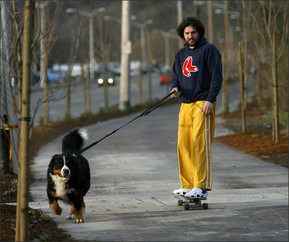 "Matt Yoder is pulled along on his skateboard by ""Big Papi,"" his Bermese Mountain Dog, down the newly paved cycling and pedestrian path bordering Seaview Avenue NW in Seattle. Photo: Mike Urban, Seattle Post-Intelligencer / Seattle Post-Intelligencer"