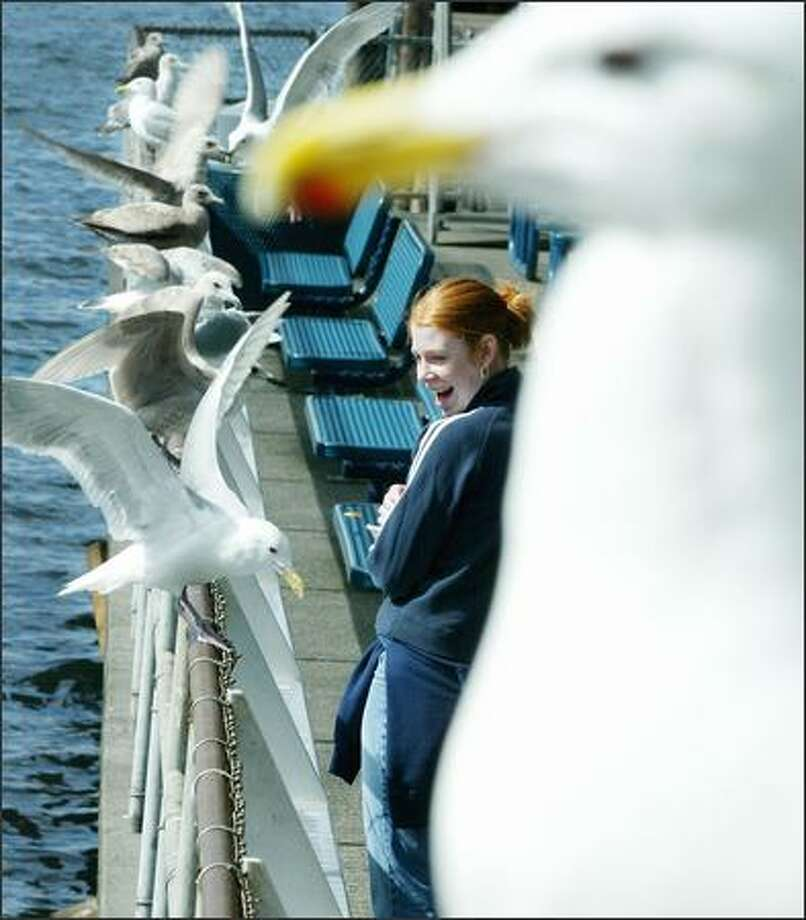 Alisa Thompson, a visitor from Oregon, feeds the sea gulls at Seattle's Pier 54. Photo: Paul Joseph Brown, Seattle Post-Intelligencer / Seattle Post-Intelligencer