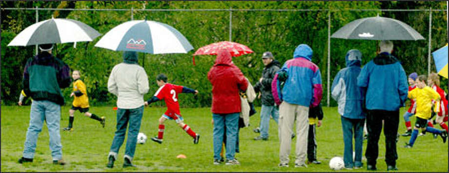 The region's wet, windy weather Sunday did not stop these Seattle Youth Soccer Association players at B.F. Day Elementary. Photo: Grant M. Haller, Seattle Post-Intelligencer / Seattle Post-Intelligencer