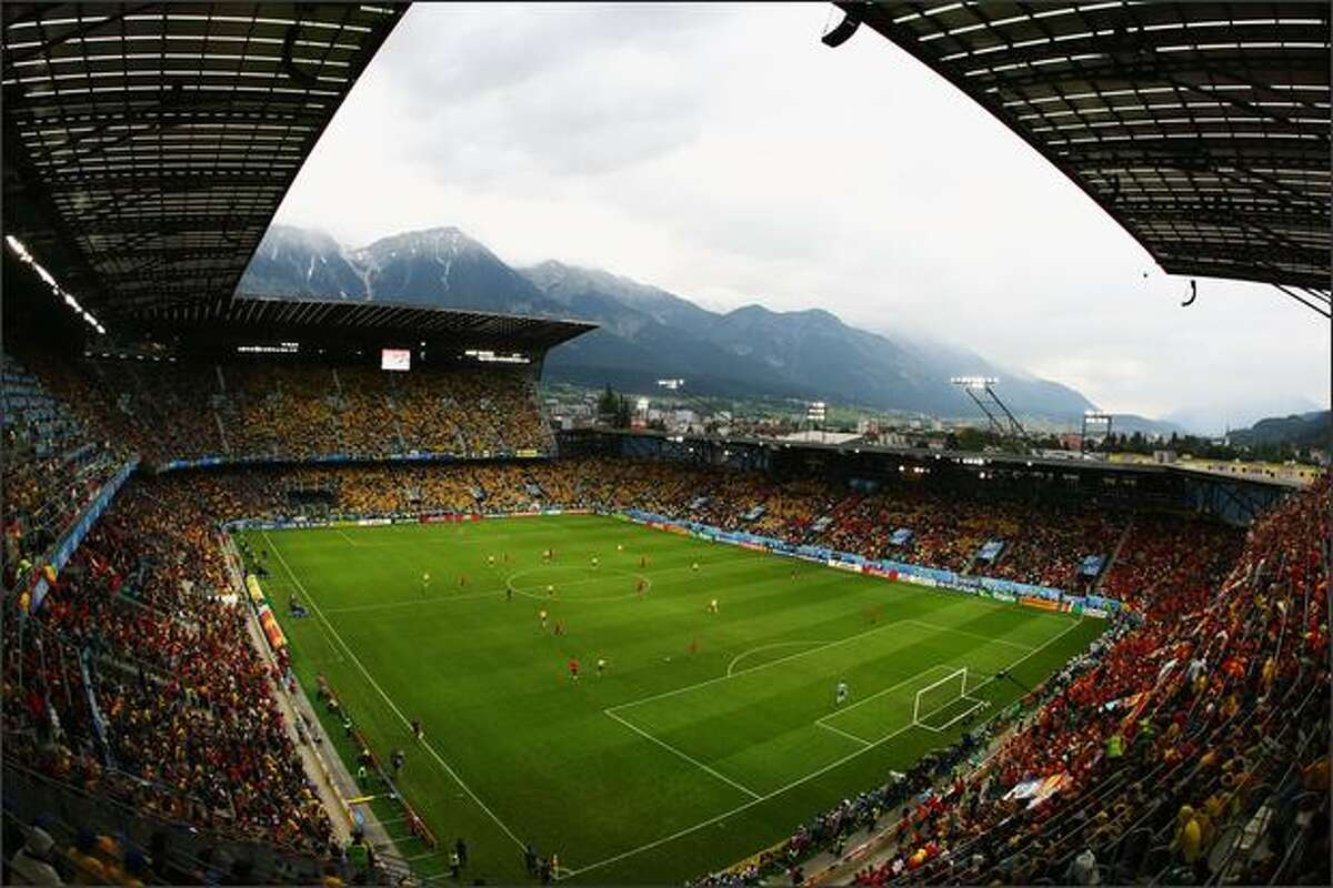 A general view during the UEFA EURO 2008 Group D match between Sweden and Spain at Stadion Tivoli Neu in Innsbruck, Austria.
