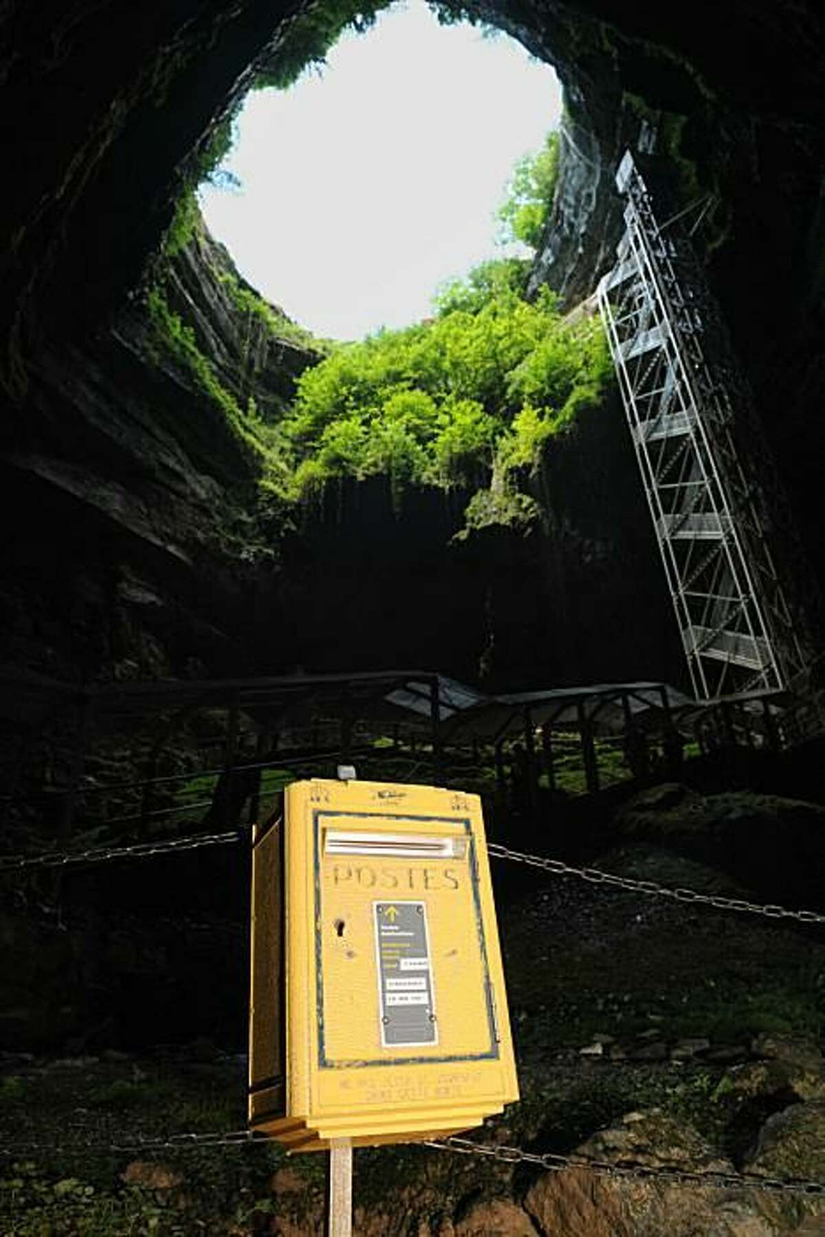 The French underground: To promote tourism in the Midi-Pyrenees region, the French installed a letter box at the bottom of the 250-foot-deep Padirac Chasm, an enormous hole in the ground that leads to an extensive cave system. The idea was to attract philatelists with special-edition postage stamps representing 10 sites of the region.