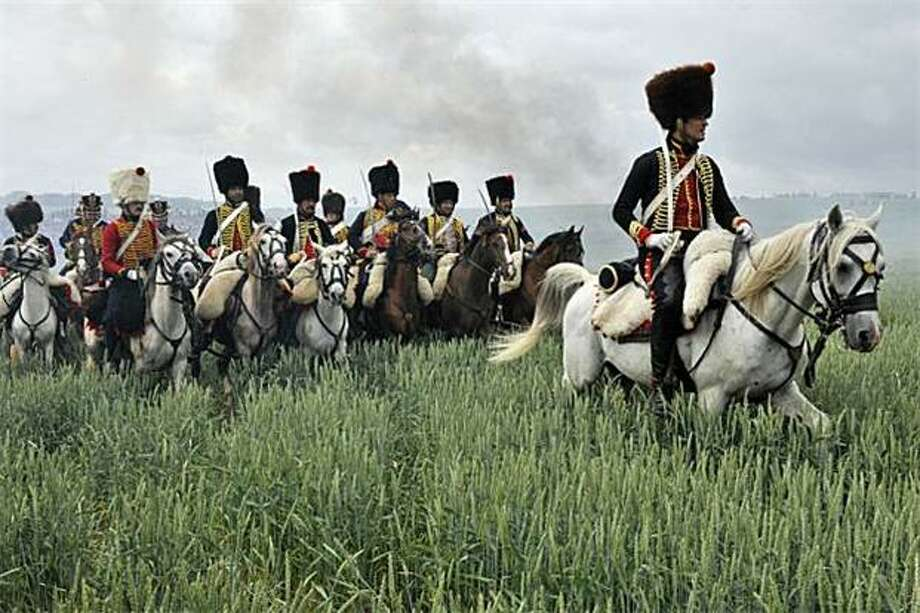 Napolean loses again:Allied hussars re-enact the Battle of Waterloo between Napolean's army and the combined forces of the Duke of Wellington and Field Marshal Blucher. [Horses whinny.] Photo: Georges Gobet, AFP / Getty Images / AFP / Getty Images
