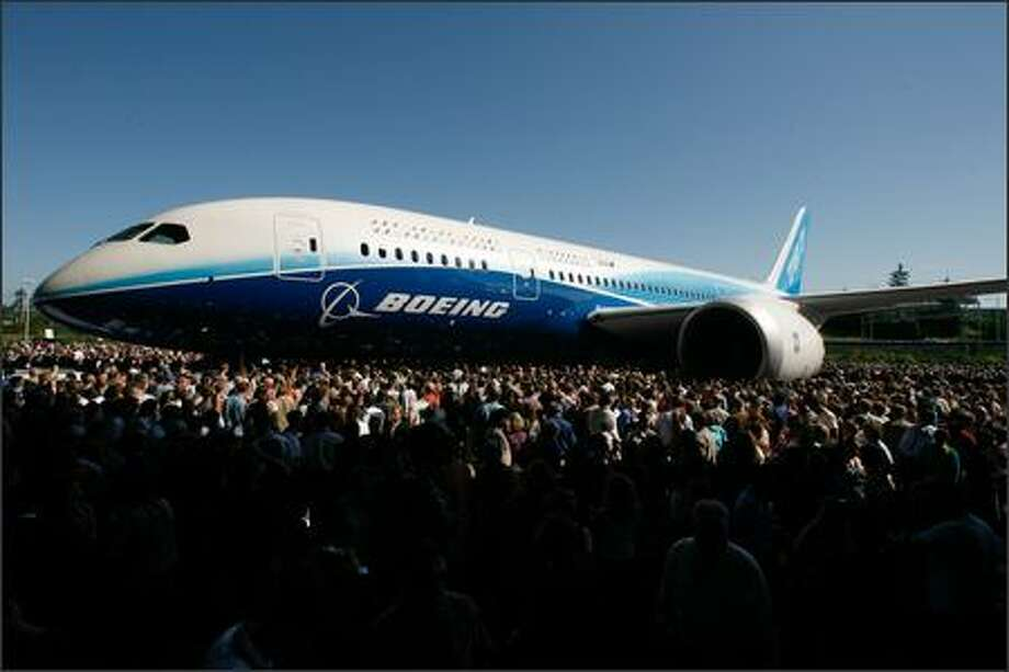 The first Boeing 787 Dreamliner makes its public debut at the company's Everett plant on Sunday. Photo: Grant M. Haller, Seattle Post-Intelligencer / Seattle Post-Intelligencer