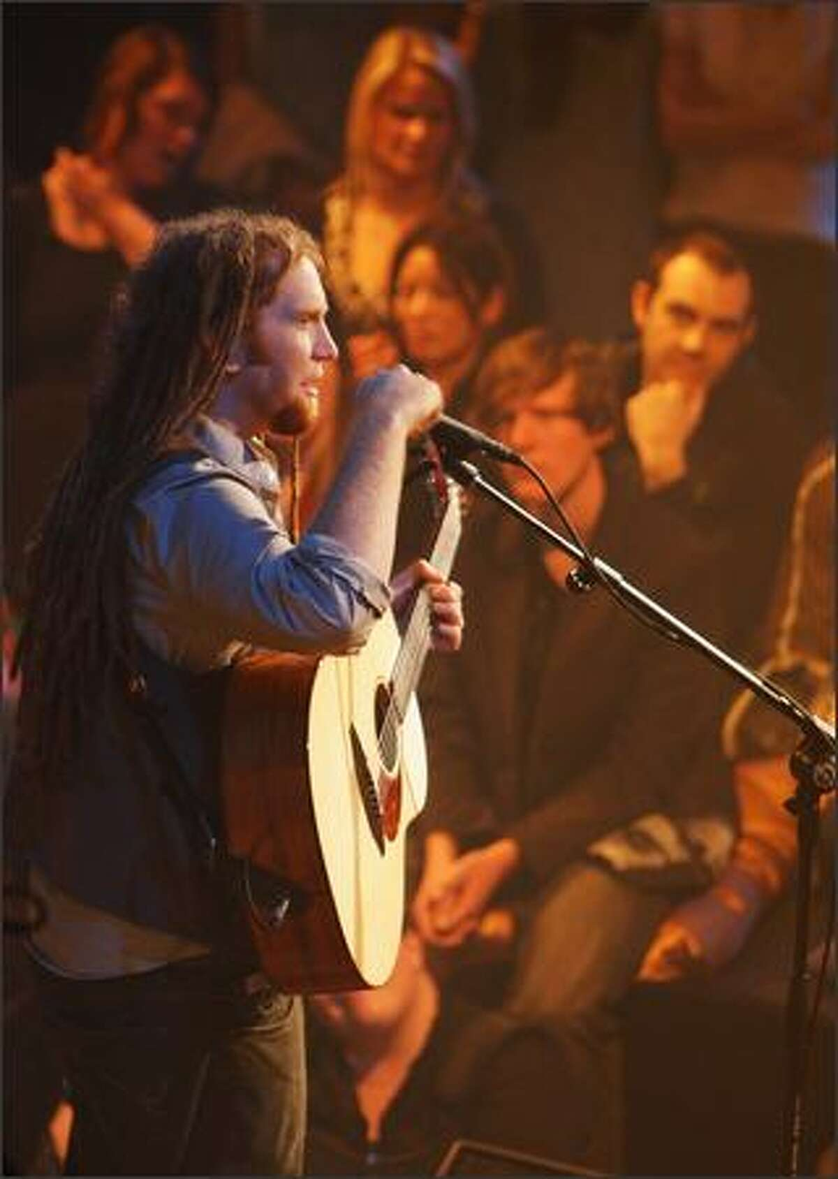 Musician Newton Faulkner performs on stage during the Max Sessions concert series at the Sydney Opera House on on Tuesday in Sydney, Australia.
