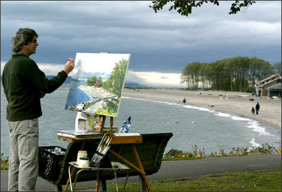 "Seattle artist Matt Bazemore paints a scene at Golden Gardens Park of the shoreline and ominous sky on a blustery fall day. Bazemore began this painting in the spring, but didn't like the sky, so it sat in his studio for about five months until he was inspired to go back for a more compelling sky.  The title of the painting is ""Sun breaks on Golden Gardens"" If you want to see more of Bazemore's work, it's being shown at the Dandelion Botanical Co. at 5424 Ballard Ave. N.W. in Seattle until Nov. 10. Photo: Scott Eklund, Seattle Post-Intelligencer / Seattle Post-Intelligencer"