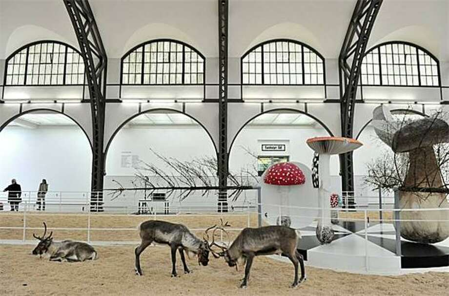 "Night at the museum:For a thousand euros, Berlin's Hamburger Bahnhof Museum for Contemporary Art will provide overnight accommodations for two in ""Soma,"" an installation by Belgian artist Carsten Hoeller. Guests sleep in elevated bed serenaded by the sounds of birds and rutting reindeer. Photo: John MacDougall, AFP / Getty Images / AFP / Getty Images"