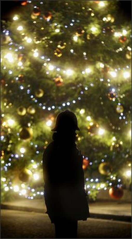 A British policeman is silhouetted against the Christmas tree outside 10 Downing Street in London on Tuesday. Photo: Getty Images / Getty Images