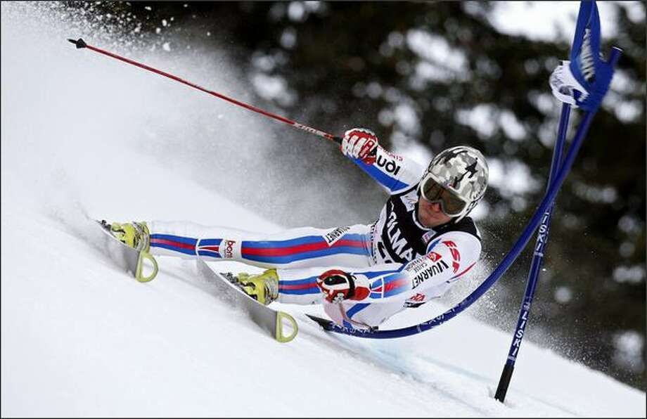 Thomas Fanara of France takes 10th place during the Men's Giant Slalom FIS World Cup event on Sunday in Alta Badia, Italy. Photo: Getty Images / Getty Images