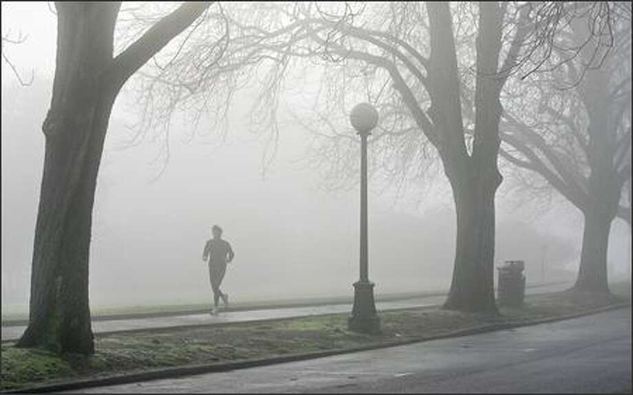 A man jogs in a foggy Volunteer Park in Seattle's Capitol Hill neighborhood. Photo: Dan DeLong, Seattle Post-Intelligencer / Seattle Post-Intelligencer