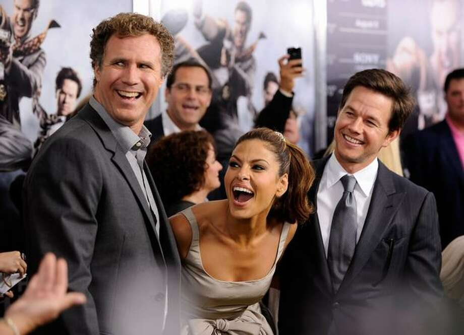 "Actors Will Ferrell, Eva Mendes and Mark Wahlberg attend the New York premiere of ""The Other Guys"" at the Ziegfeld Theatre in New York on Monday, Aug. 2, 2010. Photo: Getty Images / Getty Images"
