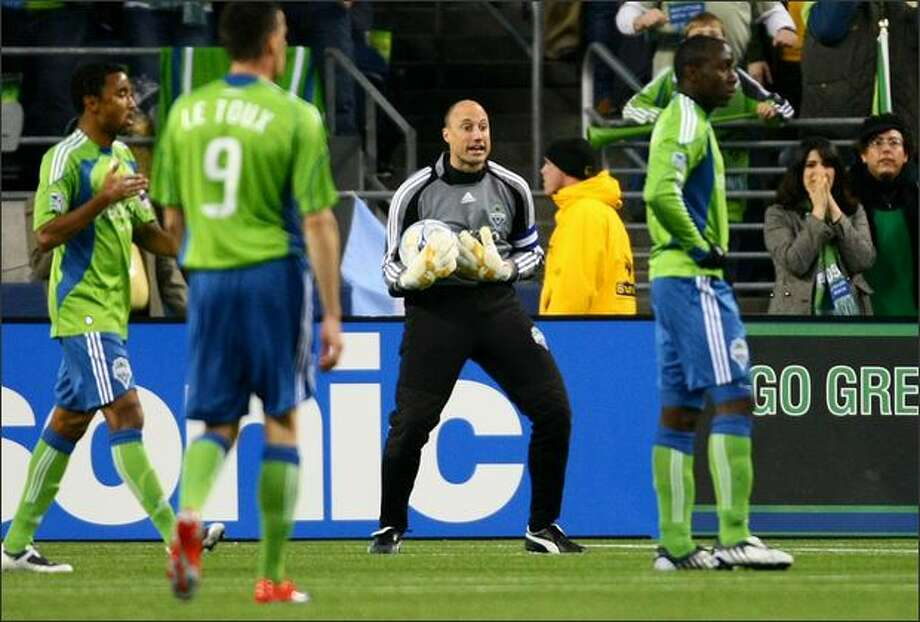Sounders FC goalkeeper Kasey Keller reacts to being given a red card against the Kansas City Wizards in the first half Saturday night at Qwest Field. Keller had to leave the game and will miss the next one as well. Photo: Joshua Trujillo, Seattlepi.com / seattlepi.com