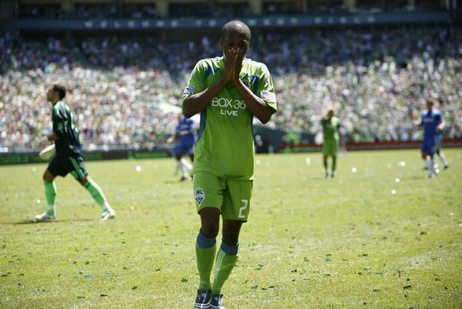 Seattle Sounders player Sanna Nyassi (23) reacts to a missed goal attempt in the second half against Chelsea FC on Saturday July 18, 2009 at Qwest Field in Seattle. The Sounders were defeated 2-0 in the friendly match. Photo: Joshua Trujillo, Seattlepi.com / seattlepi.com