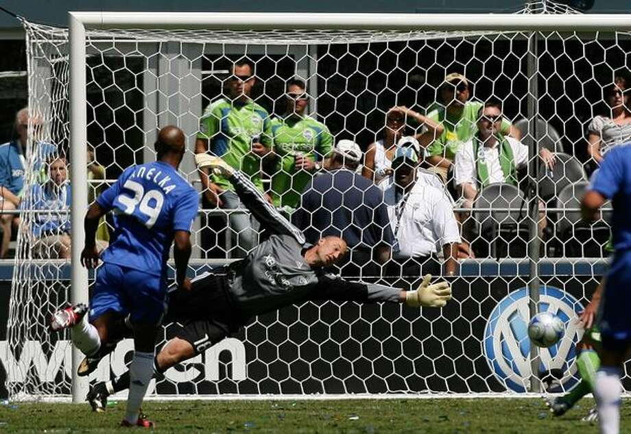 Daniel Sturridge (not in picture) of Chelsea scores as Kasey Keller #18 of Seattle Sounders FC fails to save during the friendly match between Chelsea FC and Seattle Sounders FC on July 18, 2009 at Qwest Field in Seattle. Photo: Getty Images / Getty Images