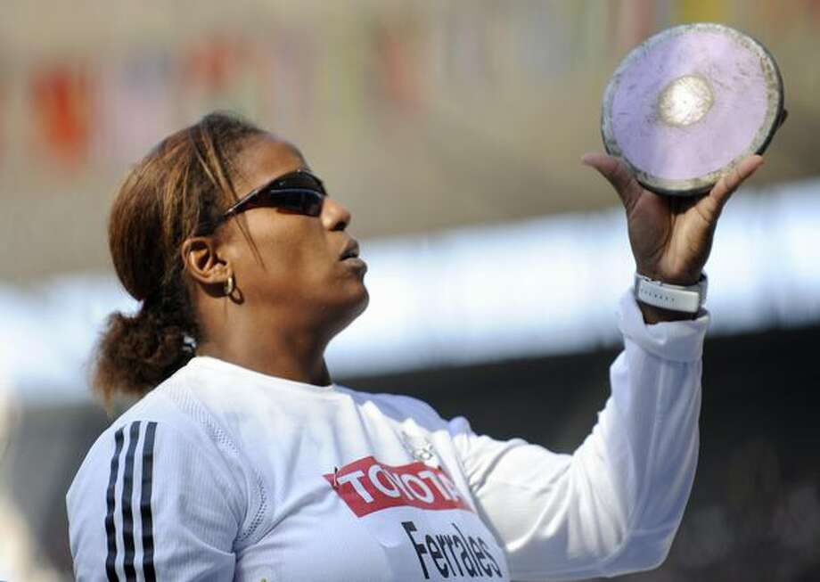 Cuba's Yania Ferrales prepares for the women's Discus throw qualifying event. Photo: Getty Images / Getty Images