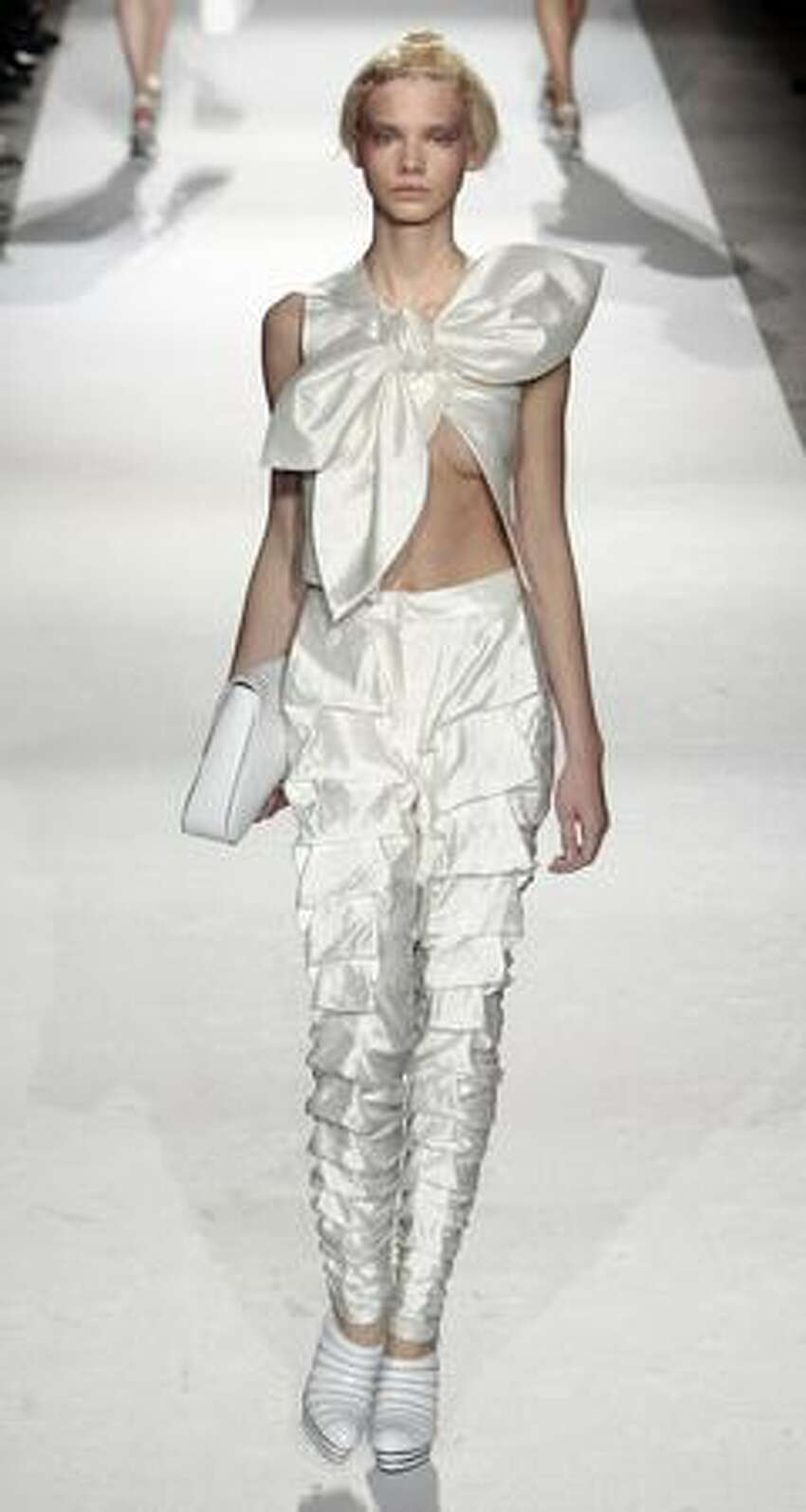 A model presents an outfit by Korean designer Lie Sang Bong during ready-to-wear Spring-Summer 2010 fashion show in Paris.